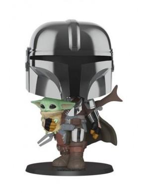 Star Wars The Mandalorian Super Sized POP! figurine The Mandalorian holding The Child 25 cm