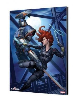 Black Widow Movie tableau en bois Black Widow vs Taskmaster 34 x 50 cm